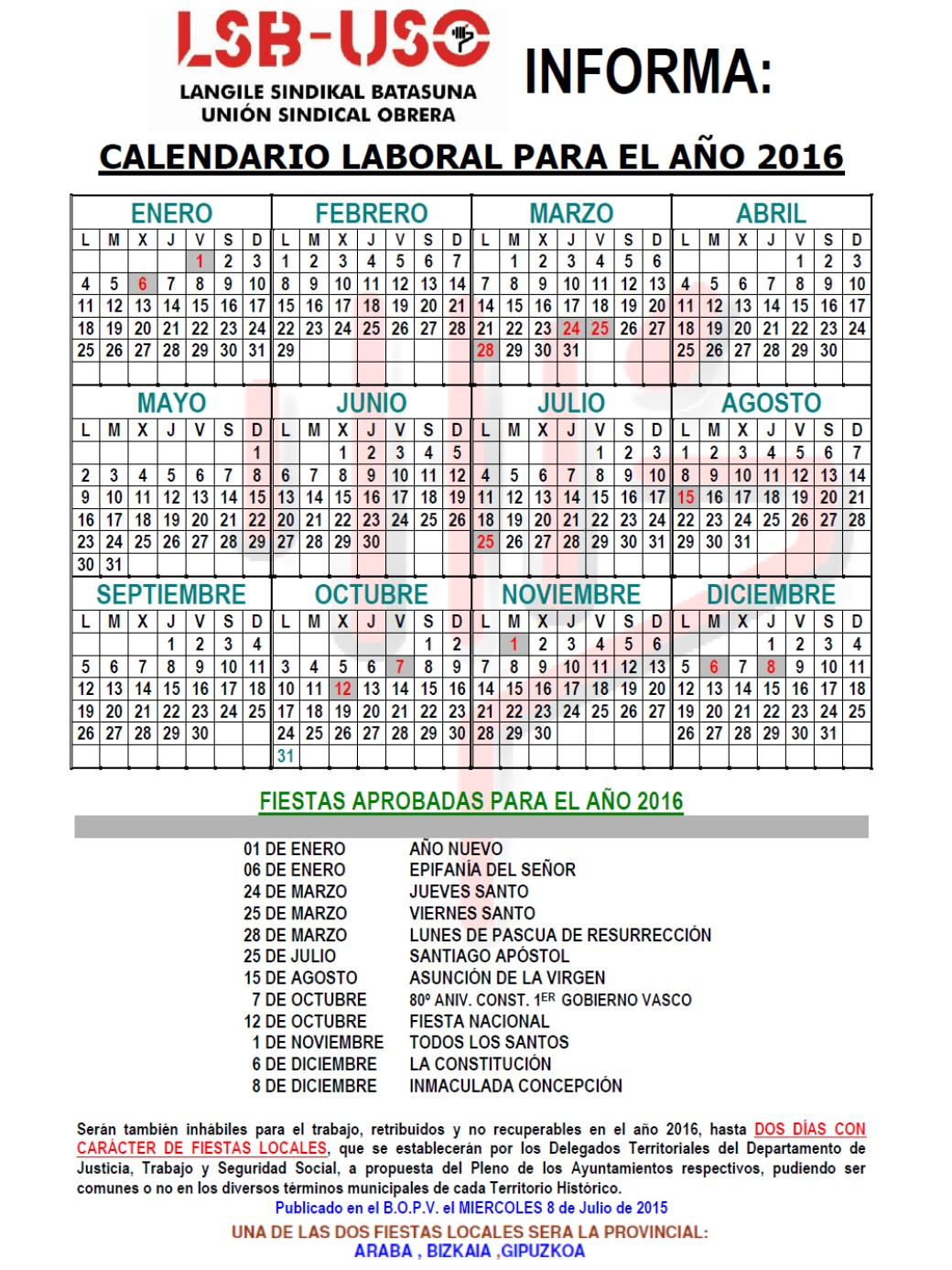 Calendario Laboral Bilbao.Calendario Laboral Lsb Uso