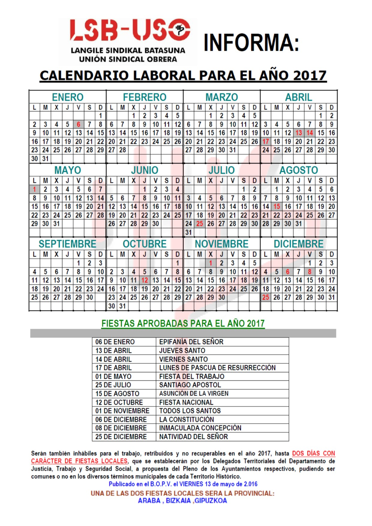 Calendario Laboral Construccion 2020.Calendario Laboral Lsb Uso
