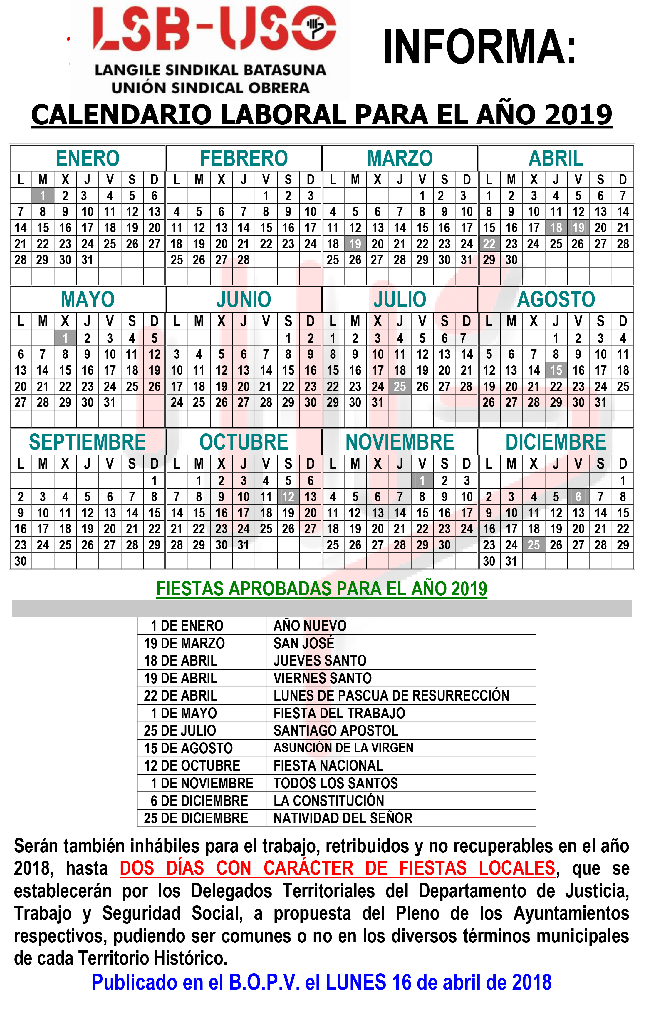 Calendario 2019 Julio Y Agosto.Calendario Laboral Lsb Uso