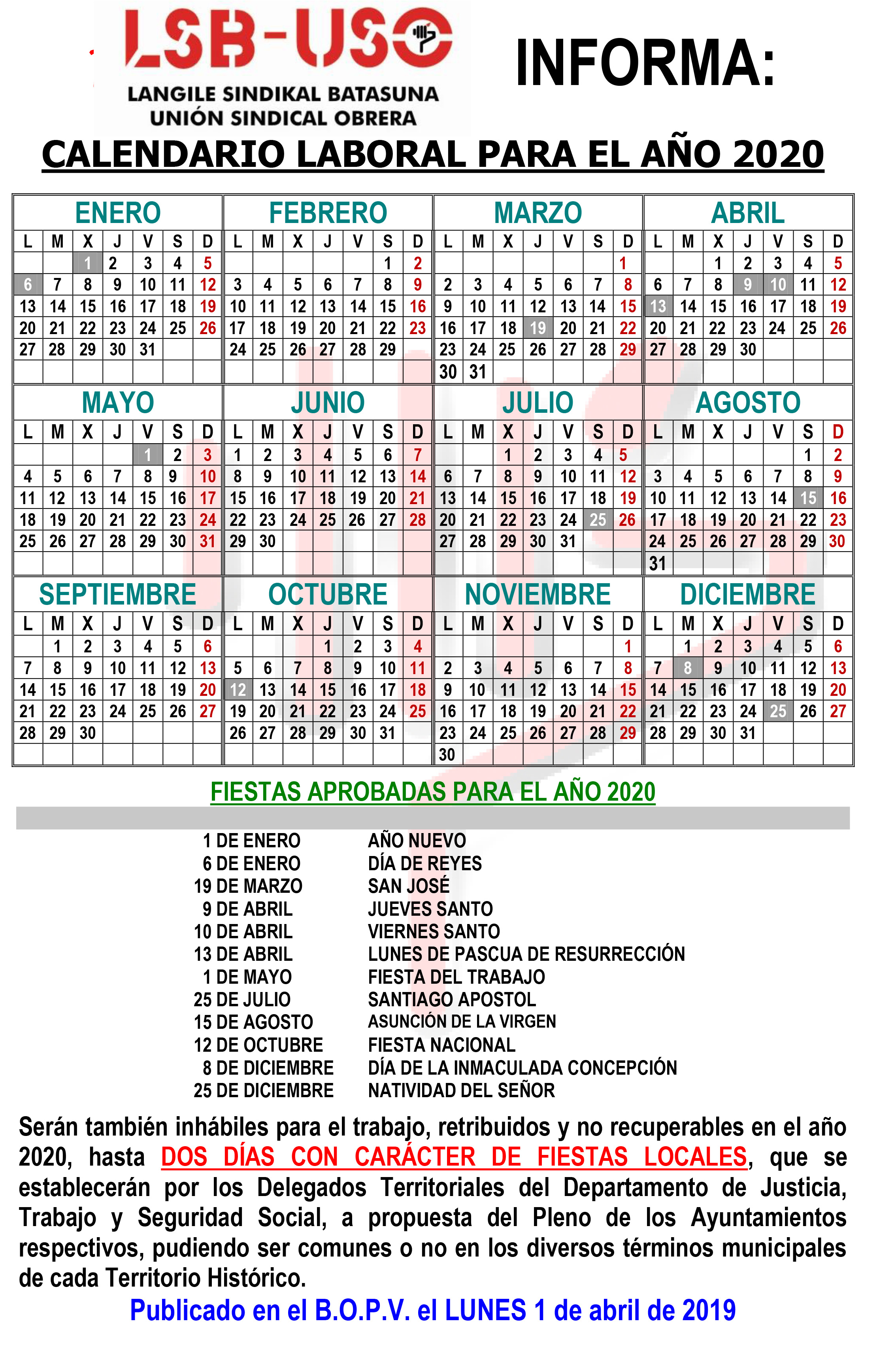 Calendario Laboral 2020 Madrid Ugt.Calendario Laboral Lsb Uso